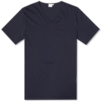 Sunspel V Neck Tee Navy