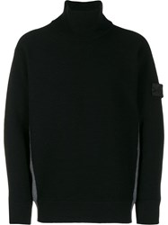 Stone Island Shadow Project Contrast Roll Neck Sweater Black
