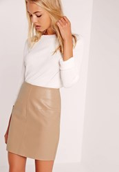 Missguided Faux Leather Mini Skirt Tan Brown