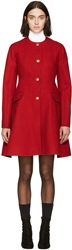 Moncler Gamme Rouge Red Wool Military Coat