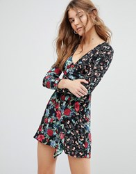 Bershka Floral Printed Wrap Front Dress Black Multi