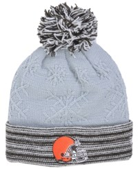 New Era Women's Cleveland Browns Snow Crown Redux Knit Hat Gray Brown