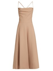 Valentino Wool And Silk Blend Crepe Midi Dress Nude