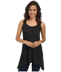 Allen Allen Scoop Neck Angled Tunic Black Women's Sleeveless