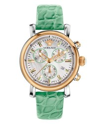 Versace Day Glam Chronograph Watch W Leather Strap Rose Golden Mint Green