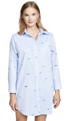 Sleepy Jones Korda Night Shirt Monogram Oxford Blue