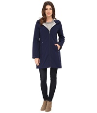 Calvin Klein Zip Front Soft Shell Coat W Jersey Lining Indigo Women's Coat Blue
