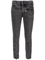 Filles A Papa Crystal Checkerboard Skinny Jeans Blue