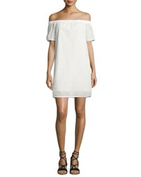 Rag And Bone Flavia Eyelet Lace Off The Shoulder Shift Dress White