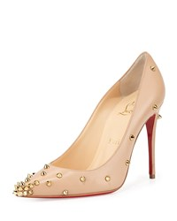 Degraspike Studded Leather Red Sole Pump Nude Gold Christian Louboutin