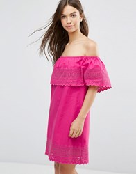 Asos Embroidered Off Shoulder Sundress Pink