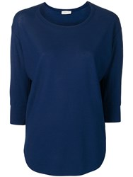 Zanone Three Quarter Sleeve Knitted Top Blue