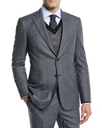 Brioni Prince Of Wales Wool Two Piece Suit Gray