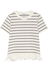 Clu Satin Trimmed Striped Cotton Blend Jersey T Shirt