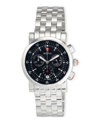 Michele Sport Sail Stainless Steel Chronograph Watch With Black Dial No Color