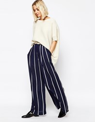 Paisie Striped Palazzo Trouser Grey