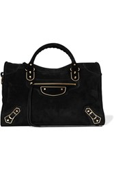 Balenciaga Classic Metallic Edge City Suede Tote Black