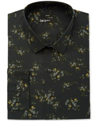 Bar Iii Slim Fit Stretch Easy Care Green Midnight Scattered Floral Print Dress Shirt