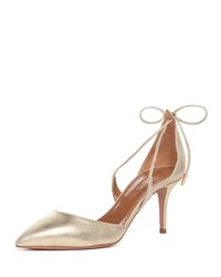 Aquazzura Matilde Metallic Suede Crisscross Pump Light Gold