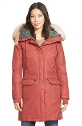 Spiewak 'Aviation N3b' Genuine Coyote Fur And Faux Shearling Trim Down Parka Beret Red