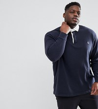 Polo Ralph Lauren Big And Tall Long Sleeve Rugby Contrast Collar Player Logo In Navy Aviator Navy