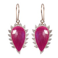 Meghna Jewels Claw Drop Earrings Ruby And Diamonds Rose Gold Pink Purple