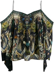 Camilla Cold Shoulder Printed Silk Blouse 60
