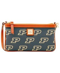 Dooney And Bourke Purdue Boilermakers Large Slim Wristlet Black