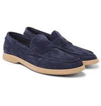 Brunello Cucinelli Suede Penny Loafers Navy
