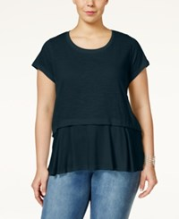 Styleandco. Style And Co. Plus Size Short Sleeve Flounce Hem Top Only At Macy's Industrial Blue
