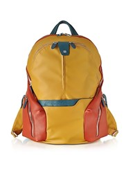 Piquadro Nylon And Leather Computer Backpack Saffron