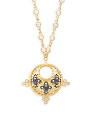 Freida Rothman Classic Crystal Studded And Sterling Silver Triple Fleur De Lis Pendant Necklace Gold