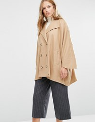 Cooper And Stollbrand Oversize Double Breasted Short Coat In Camel Camel Tan