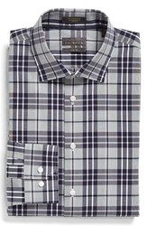 Men's Big And Tall Calibrate Trim Fit Non Iron Plaid Stretch Dress Shirt Navy Peacoat