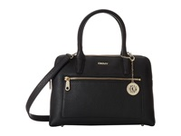 Dkny Tribeca Soft Tumbled Leather Double Zip Satchel W Det Ss Black Satchel Handbags