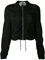 Mcq By Alexander Mcqueen Ruched Bomber Jacket Women Cupro 36 Black