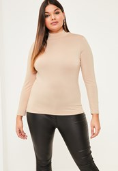Missguided Plus Size Nude High Neck Jersey Top