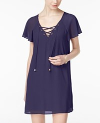 City Triangles Studios Juniors' Lace Up Flutter Sleeve Shift Dress Navy