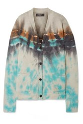 Amiri Oversized Tie Dyed Cashmere And Wool Blend Cardigan Cream