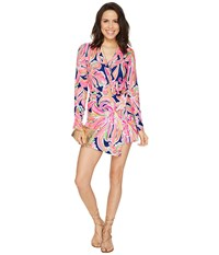Lilly Pulitzer Tiki Wrap Romper Resort Navy Banana Flambe Women's Jumpsuit And Rompers One Piece Pink