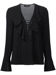 Yigal Azrouel Lace Up Ruffled Blouse Black