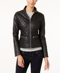 Kenneth Cole Faux Leather Quilted Bomber Jacket Black