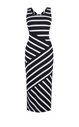 Karen Millen Wide Stripe Jersey Midi Dress Black And White