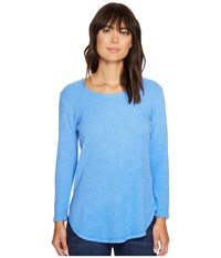 Mod O Doc Textured Slub Stripe Raw Edge Seamed Tunic Peri Women's Long Sleeve Pullover Blue