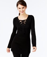 Inc International Concepts Grommet Lace Ribbed Tunic Only At Macy's Deep Black