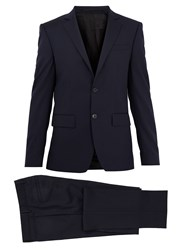 Givenchy Single Breasted Striped Wool Suit Navy