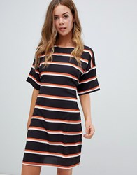 Missguided Tie Waist T Shirt Dress In Stripe Multi