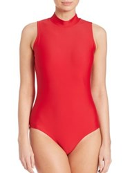 Cover One Piece Sleeveless Upf 50 Swimsuit Red