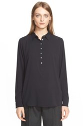 Eleventy Long Sleeve Silk Henley Blouse Black