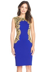 Tadashi Shoji Embroidered Mesh And Neoprene Sheath Dress Gold Mystic Blue
